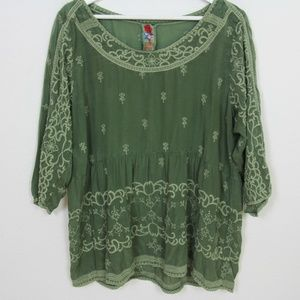 Johnny Was Green Embroidered Cupro Rayon Blouse